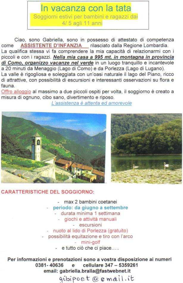 IN VACANZA CON LA TATA :: In provincia di Como, Soggiorni estivi in montagna per bambini e ...